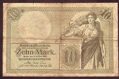 1906 10 Mark Very rare Germany vintage paper money banknote currency antique old