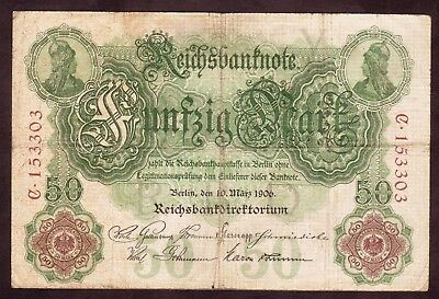 1906 50 Mark  Very rare Germany vintage paper money banknote  currency antique