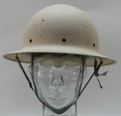 WWII White Civil Defence Air Raid Steel Helmet liner chinstrap complete E9411
