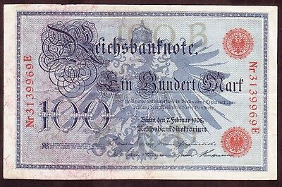 1908 100 Mark Germany Vintage Paper Money Banknote Currency Rare Antique Note