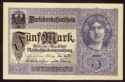 1917 5 Mark UNC WWI Germany vintage paper money banknote currency rare antique
