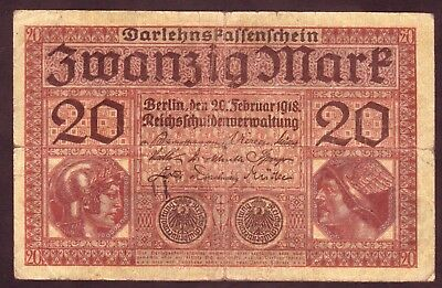 1918 20 Mark WWI Germany vintage paper money banknote currency rare antique old