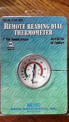 """2 new weiss 21hl-060 remote reading thermometer 2"""" dial temp"""