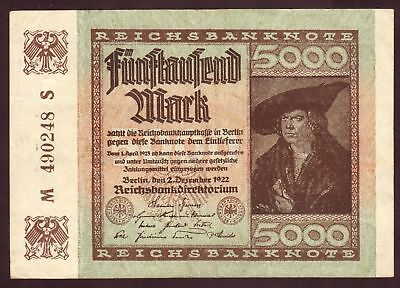1922 5000 Mark Germany vintage paper money banknote currency antique note bill