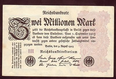 1923 Germany 2 Million Mark XF Vintage Banknote Paper Money Bill Note currency