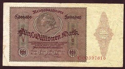 1923 Germany 5 Million Mark Very Rare Vintage Banknote Money Bill Note Currency