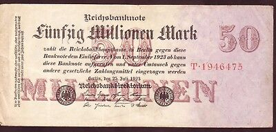 1923 Germany 50 Million Mark Rare Vintage Banknote Money Bill Note Currency old