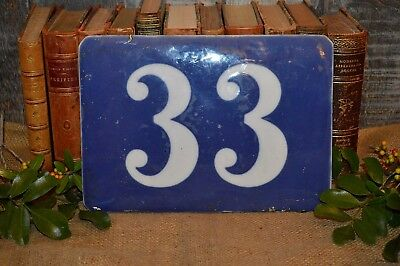 Antique Large French Porcelain Blue Number 33 House Building Plaque Sign