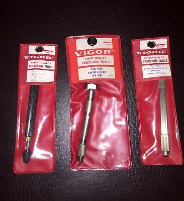 NEW OLD STOCK Lot of (3) Vigor Pin Vises PV-662 PV-657 PV-661 Machinist Tools