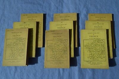 Lot of 9 Taride's Road Map of France, early 1900's