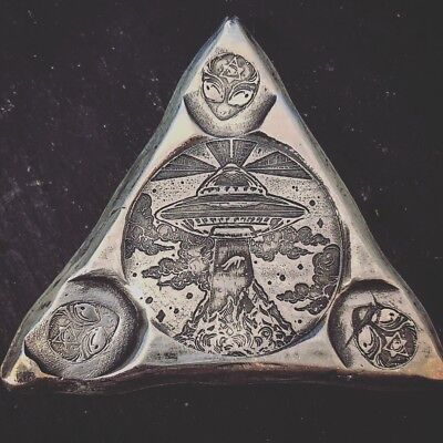 "3 Troy Oz .999 FS MK BarZ "" Alien Abduction All Seeing Eye"" Triangle LTD Ed 500"
