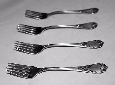"Four (4) Christofle Marly 6.5"" Silver-Plated Salad Forks, France - Hallmarked"