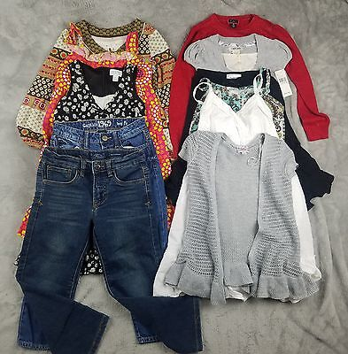 Girls Size 5, 5/6 and 6 Lot of 11 Clothing Dresses Tops Jeans E311
