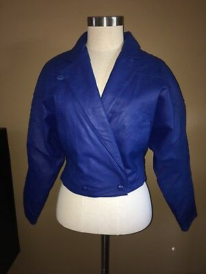 Vintage 80s GLAM ROCK ROYAL BLUE cropped LEATHER JACKET AND SKIRT - EXCELLENT!