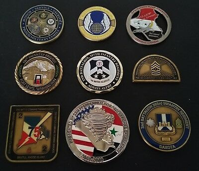 9 Coins Challenge Coin lot set Collection Military Some NUMBERED No Duplicates