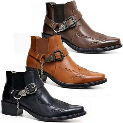 Mens Ankle Cowboy Biker Boots New Smart Chelsea Western Harness Boots Shoes Size