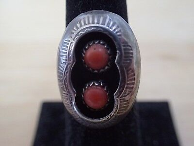 Sterling Silver Navajo Red Coral Shadow Box Ring, Size 6
