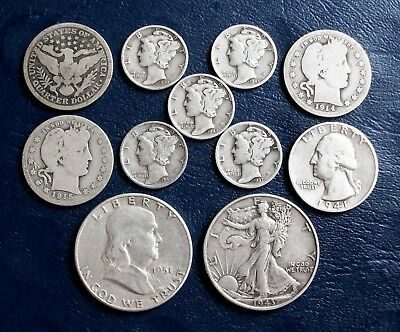 2.50 Face Value 90% Junk SILVER Half Dollars, Quarters, Dimes **FREE SHIPPING**