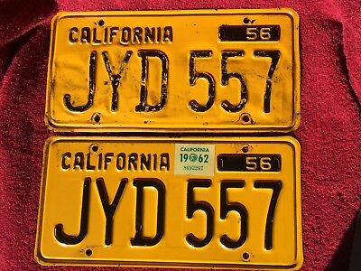 Set~1956~California~ Auto~Pres. Steel~License Plates~ #jyd 557~Gold &black-Clear