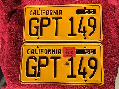 Set~1956~California~ Auto~Pres. Steel~License Plates~ # Gpt 149~Gold&black-Clear