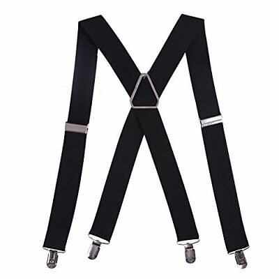 "HDE Men's Big and Tall X-Back Clip Suspenders 1.5"" Wide Adjustable 55"" Long"