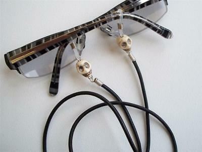 Mens LEATHER & SKULLS Spectacle Chain Glasses Holder Sunglasses