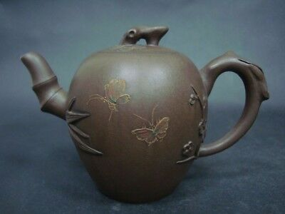 "Excellent Carving Old Chinese ZiSha Pottery Teapot ""ChenMingYuan"" Mark"