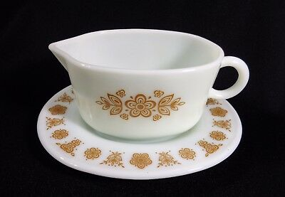 Vintage Pyrex Butterfly Gold Gravy Boat and Underplate Corelle Corning ware