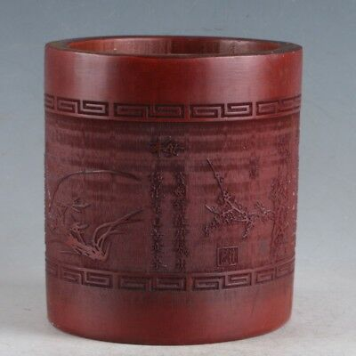 Chinese Bamboo Pole Hand Carved Plum Orchid, Chrysanthemum & Bamboo Brush pot