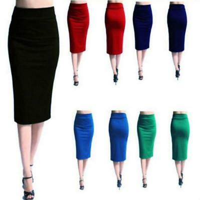 Women Elegant High Waist Straight Slim Stretch Bodycon Pencil Dress Midi Skirt L