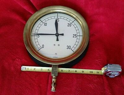 Vtg. large JP Marsh Corp Brass front 9.5 inch Gauge Steampunk Made in USA