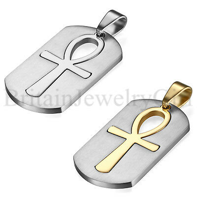 Men's Stainless Steel Large Coptic Ankh Cross Religious Dog Tag Pendant Necklace