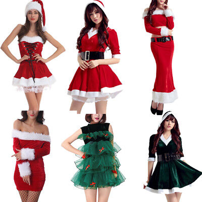 Women Sexy Santa Claus Christmas Costume Cosplay Lady Xmas Outfit Fancy Dress