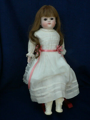"""Antique 14"""" Kestner Closed Mouth Bisque Doll G Human Hair Wig"""