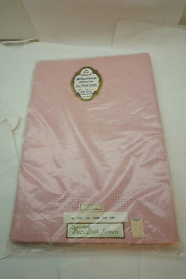 VINTAGE IRISH LINEN TABLECLOTH 52x68 PINK UNUSED IN PACKAGE IRELAND FLORAL