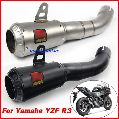 Slip-On Race Series Muffler Exhaust Pipe For Yamaha YZF R3 Stainless Steel