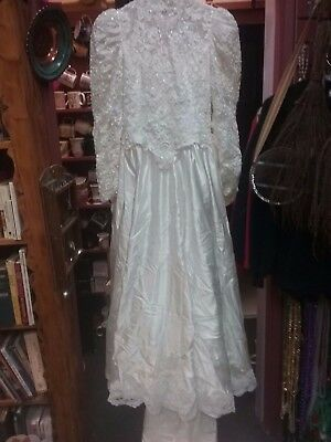 Vintage NATURAL WHITE 80's Wedding Gown High Neck, Victorian Long Sleeves SZ M