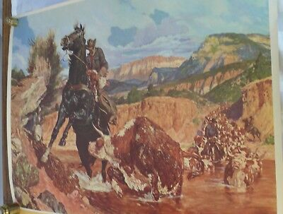 Arnold Friberg Western print 1950's Horning In