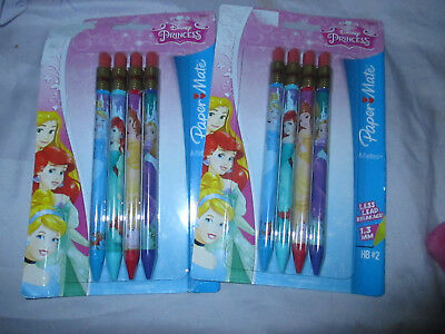 NEW (2) Disney Princess 4ct Paper Mate Mechanical Pencils Cinderella Ariel Belle