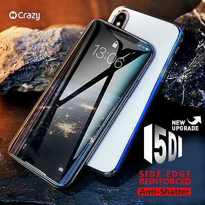 CRAZY 5D Full Cover Curved Tempered Glass Screen Protector for iPhone 7 8 Plus X