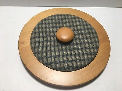 Round Med Wooden BASKET LID See Pictures For Opening Info Free Shipping