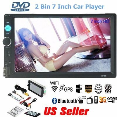 "7"" HD Touch Screen Double 2 DIN Car GPS Stereo USB Player Bluetooth Radio WP"