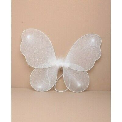Childrens Kids Girls Baby Little Mini Small Sparkly Fairy Wings In White Or Pink