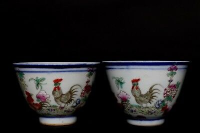 Exquisite Pair of Rare Chinese Antique Hand Painting Porcelain Cups Marked FA506