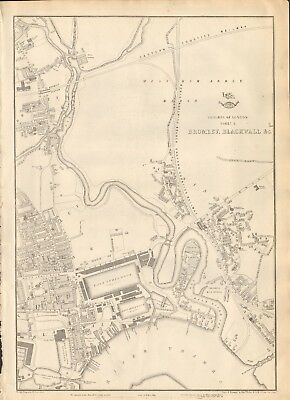 1863  LARGE ANTIQUE MAP - DISPATCH ATLAS- LONDON SUBURBS,BROMLEY, BLACKWALL &c