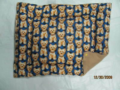 Yorkshire Terrier Print Dog Bed Crate Pad Mat 15x18""