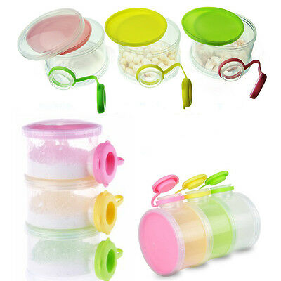 Portable 3 Layers Baby Milk/food Dispenser Boxes Container Food Storage BPA free