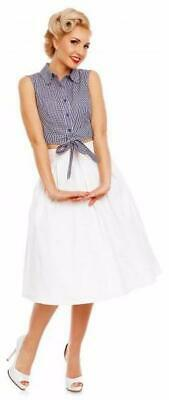 Dolly and Dotty 50s Blue and White Gingham Tie Waist Blouse