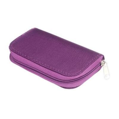 Purple Memory Card Wallet 22 - Micro SD CF Protective Storage Holder Pouch Case