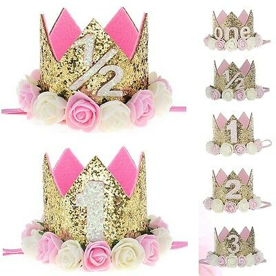 Baby Girl 1st Birthday Party Flower Princess Crown Headband Photo Props New.